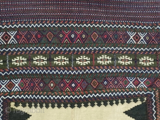 Fascinating  baluch sofreh with  hypnotic cross medallion, patterns are needlework,endings are perfectly oriented Corners are goat hair, collectors choice Circa 1950  135 * 135 cm