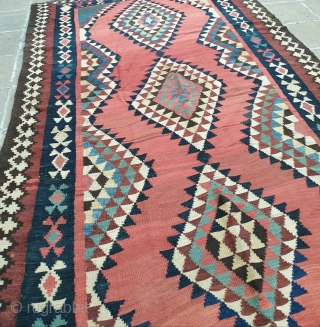 A flatweave from shahsavan tribes of Azerbaijan,iran Circa 1920-40 , all colors are naturally  dyed , measurements  260 * 140 cm  Excellent condition