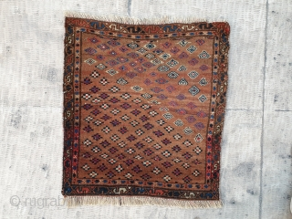 Unusual yamut small rug with elegant coloring  Mid 19th century  45 * 40 cm
