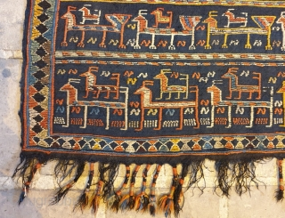 Extraordinary shahsavan horse cover,with queue's of quadropeds and repetitive plants pattern,in good condition  No repairs, a small defect(as small as a coin)
