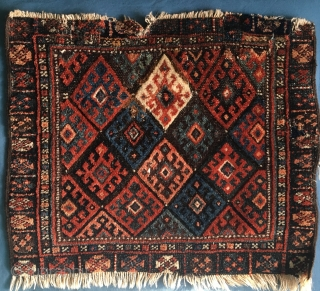 NWPersian? Bag Face 40cm *50 cm   Fine knotted piece beautiful colours and lustrous wool various damage, repairs etc.  Circa 1860