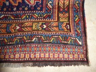 Ref 1616 Khamseh chicken rug, South West Persia circa 1900.  In good condition with only minor restoration. 7'2 x 5'2 - 218 x 157