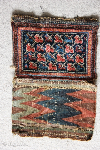 1506 Antique Sirjan bag.  Made by Afshars in the environs of Sirjan/Saidabad, Kerman province. Quite rare with similar structure to Kermanshah carpets. Circa 1880.