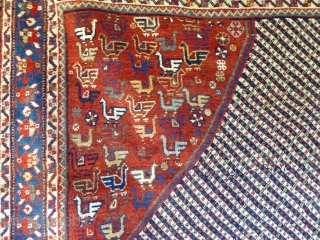 Ref 1529 Khamseh carpet. Circa 1900 with natural dyes. Unusual squareish size. 6'8 x 6'1 - 205 x 185.  In good condition without restoration