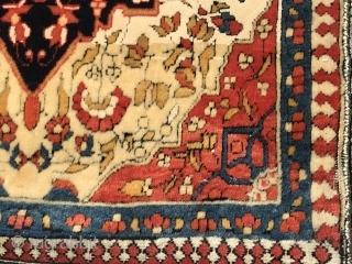 Ref 1623 Kashan pushti circa 1900 most probably Mohtashem. 90 x 44 - 3'0 x 1'6.  Good condition with purple silk overcasting.