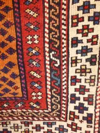 1603 Antique Bergama Kozak rug, circa 1850. 3'5 x 3'5 - 105 x 105 Restored selvedges otherwise untouched.