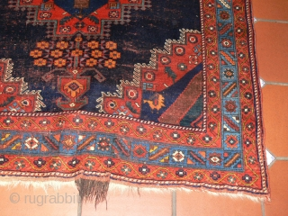 Ref 1410 Late nineteenth century Afshar rug. 5'8 x 4'10 - 173 x 146.  All natural dyes. Small restoration at one end, low pile but sound.