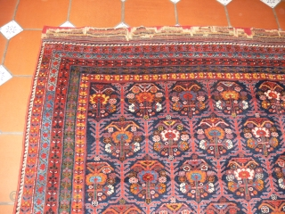 1438 Antique Afshar. 6'11 x 5'9 - 210 x 174. In full, pile kelim ends worn and conserved