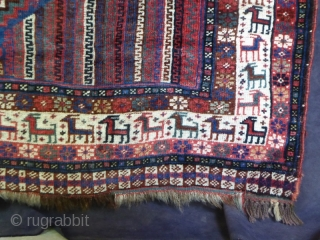 1646 Antique Khamseh rug circa 1890. 6'3 x 3'11 - 191 x 118.  All natural colours including unusual mid blue field. Asymmetrically knotted all over low pile but no restoration and  ...