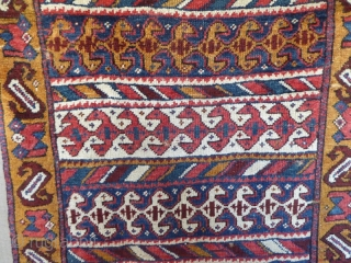 Ref 1534 Old and unusual North West Persian.  Circa 1850. 6'0 x 2'11 - 183 x 89 Mounted on fabric, few small holes but fairly good pile, spectacular colours.