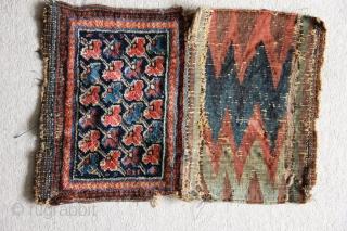 "Ref 1506 Mid nineteenth century Sirjan/Saidabad bag. 1'0 x 9"" - 31 x 23 no restoration.  Some flowerheads with corroded silk knotting"