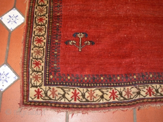 Ref 1437 Afshar saddle cover. Nineteenth  century all natural dyes. 2'11 x 3'3 - 89 x 108.  In good condition without restoration.  Rare