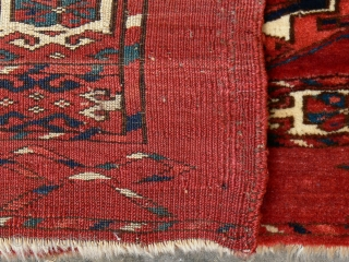 Ref 9012 Tekke Turkmen torba.  circa 1850 or earlier. 4'0 x 1'3 - 120 x 38. In good condition with minor restoration.  Finer weave than most.  Dont forget to check my  ...