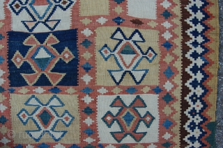 "Antique tribal Qashqai kilim 262 x 134 cm (8ft 9"" x 4ft 6"") 2nd half 19th century. All natural dyes. Condition: (very) good, original sides complete and intact, both endings complete (minor  ..."