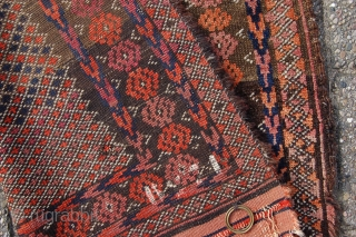"""Antique tribal Baluch prayer rug 129 x 73 cm (4ft 4"""" x 2ft 5"""") 19th century. All natural dyes. Condition: as shown, medium to low pile all over with some places of  ..."""