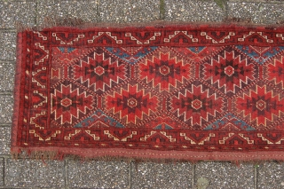 "Antique Ersari Bashir animal trapping 166 x 47 cm (5ft 6"" x 1ft 7"") 2nd third 19th century. All natural dyestuffs. Condition: good, evenly good low pile, original ""zig zag"" multiple woven  ..."