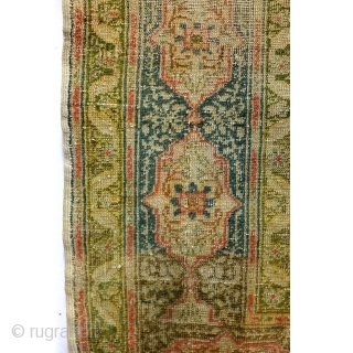 Silk, Antique Hereke, even wear, low pile. Softly fading away. 170 x 118 Cm. 5.6 Ft. x 4 Ft.