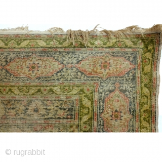 Silk, Antique Hereke, even wear, low pile. Softly fading away.
