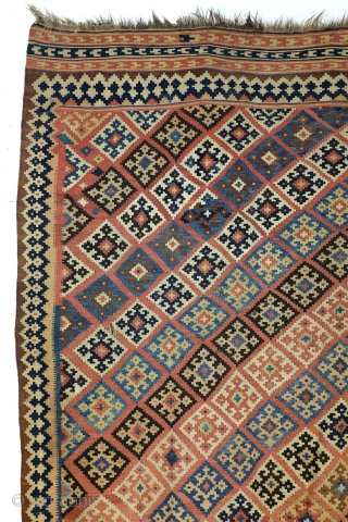 Antique Qashqai kelim, 260 x 165 Cm. 8.6 feet x 5.5 feet. 