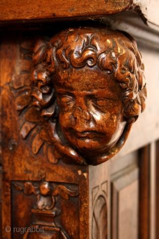Italian 17th century Cabinet, walnut.  In 2 parts, High 183 Cm  6 ft 1 inch Wide 164 Cm   5 ft 6 inch deep 60 Cm    2 feet.  in  ...