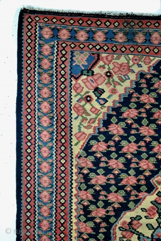 Fine Senneh kilim, with roses all over.  3 feet one inch x 5 feet.  In good condition.  1930 - 1950.