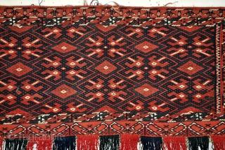 Torba, Ersari Beshir, complete, in perfect condition.  Soumack. 93 x 43 Cm. with tassels 70 Cm. high.