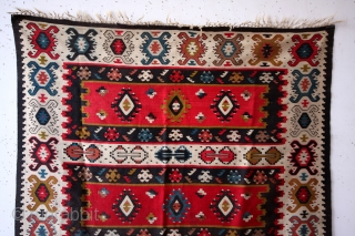 SARKOY kilim, Balkan, early 20th century.  natural colors. One old repair.  Original sides and headings intact.  Clean.  210 x 137 Cm's. 7 feet x 4.4 feet.