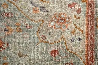 Silk on cotton. 156 x 134 Cm.  Tbriz early 20th century.  Great celadon green.  Refined piece.