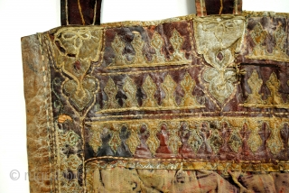 cradle or hammock Chair, Persian. 75 x 140 Cm. 2.5 ft. x 4.6 ft. Fabric on the inside and leather on the outside. Very old, can't say how old exactly. 19th.,18th century?  ...