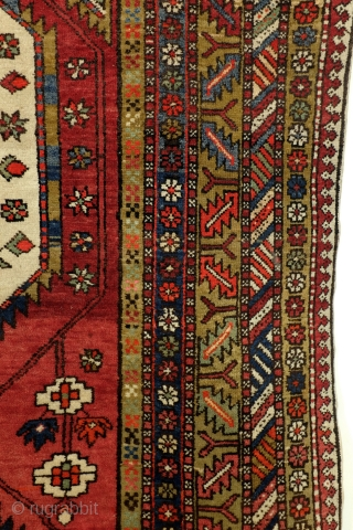 Meshkin, old, 340 x 140 Cm. Good condition.  Very nice and wide border with zoroast'symbols like the fire toarch.