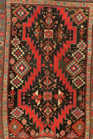 Antique Karabach, Armenian, 1890-1900.  Natural vegetable colors. 190 x 126 cm. 6.3 ft x 4.2 ft.  wool on wool.   Ironchloride is a natural compound in the vegetable dye of the black.  Due to  ...