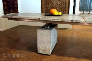 Large table, by Skipper, studio made, signature object, length 365 Cm. - 12 feet, 6 inch. Concrete pedestals( hollow to save weight ), stainless steel joints, salvaged old wood -Azobé. i work  ...