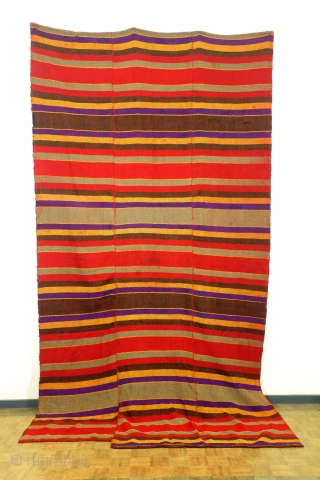 Bulgarian kilim, jajim, but different made; two colors embroided in one pattern. 