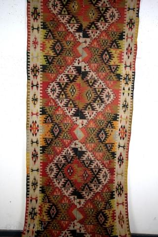 Anatolian kilim, 355 x 108 Cms.