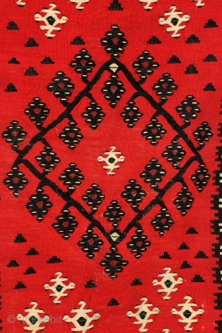 Very fine woven kilim, around 1930.   'Sarkoy', is the name Turkish rug deales gave to these Balkan made weavings.  It is in fact a misleading name, suggesting they only were made on Turkish  ...
