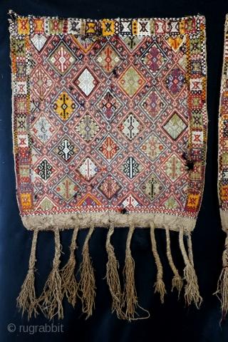 Twin set Soumack bag faces, my estimation) around 1900.  70 x 65 Cm. Worn, some holes, as is.  Shahsavan? East Anatolia?