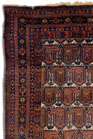 Large Afshar, 274 x 225 Cm. 9.1 feet x 7.5 feet.  Worn right top corner and left bottom corner.  Rare size.