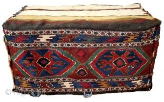 Mafrash high 50 cm. deep 55 Cm. long 100 Cm.  Great colors including the bag/pillow.  Back of the pillow is original made of Jajim.