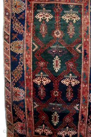 """Bergama, antique, perfect condition, natural colors.  Great abrash. 122 x 210 Cm's. 4 ft.1""""x 7 ft.  Clean. Great petrol and  indigo.  Dragons on two borders."""
