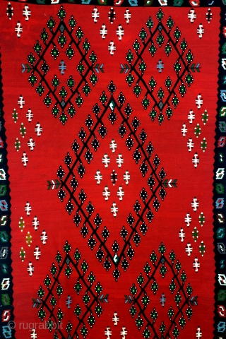 """Sarkoy kilim, named after a Turkish Harbour but in fact Balkan and Bulgarian.  In good condition.  280 x 194 Cm's. 9 ft.2""""- 6 ft 6 """""""