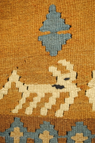 Bedouin kilim from the UAE desert, close to Dubai, with white oryxs, legendary desert goats. 70-ies. Split kilim. In perfect condition. 230 x 147 Cm. 