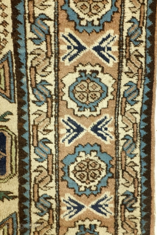 Fine Konaghend, Kuba area, Caucasus, 210 x 138 Cm.  Early 20th century. Wool on cotton.  Great colors, two shades of green and two shades of blue and a great and rarely seen  ...