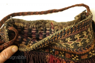 Small Bag, 'Chanta', 64 cms long 34 wide.  The technique is called weft-substitution an It is in realy perfect condition.  The glass beads are handmade. d is executed on the loom.   Rows of  ...