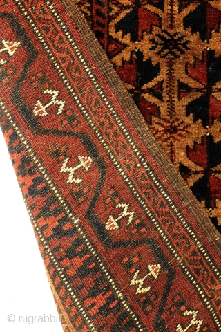 Belouch, classical Belouch, tree of life with Ersari 'anchor' kepse gul in the border.  Great color, velvet wool, natural colors undyed natural camel wool in the field color.  180 x 80 Cm.  ...