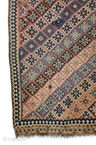 Kilim Qashqai, antique - 1900, 260 x 165 Cm. - 8.6 ft. x 5.5 ft. natural colors.  Good condition.
