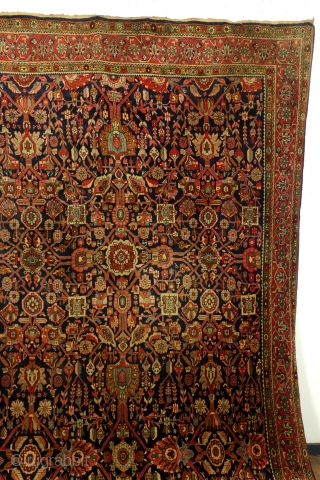 Bidjar, 80 to 90 years old, in splendid condition, 13 mm thick, full pile - half an inch, great colors. Size: 335 x 225 Cm. 11.1 ft. x 7,5 ft.  Beautifull pistache  ...