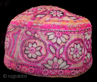 Cap, Turkmen, fine embroidery, old. The size of a kid. about 17-18  cm's wide.