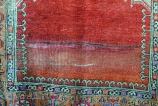 Anatolian Konya prayer rug. Rare green. 182 x 137 Cm.