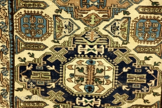 Kazak, Konaghend, Shirvan area, 125 x 225 Cm. Ivory ground, possibly a dowry gift.  1920 - 1930. Rarely seen pattern on knotted carpets - mostly on soumacks.