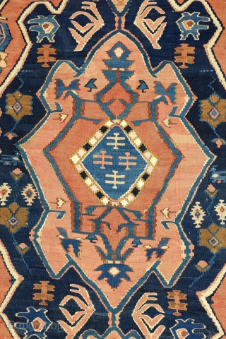 Fine Rare Antique Iranian province Adzerbeijdzjan Kilim. 170 x 110 Cm. 5.6 ft. x 3.6 ft. In very good condition, natural colors.  Silk warp.